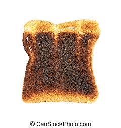 toast, brûlé, isolé, pain