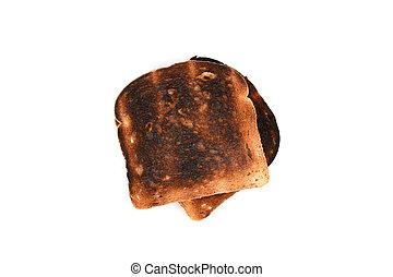 toast, brûlé, tranches