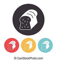 toast, bread, ikone
