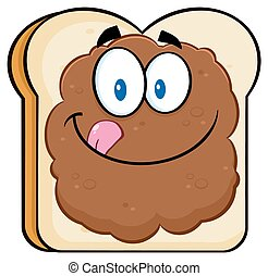 Toast Bread Slice Character - Toast Bread Slice Cartoon...