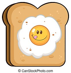 Toast Bread Slice With Smiling Egg