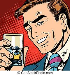 Toast cheers whisky with ice, elegant man pop art retro...
