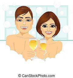 toast, confection, couple, baignoire, champagne
