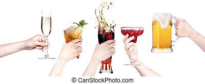 toast, confection, ensemble, alcool, boissons