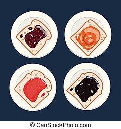 toast, confiture, ensemble, tranches, fruit, vecteur, pain blanc