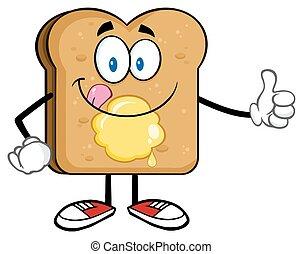 toast, couper, caractère, dessin animé, pain