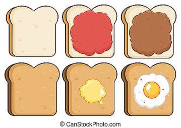 toast, couper, ensemble, collection, pain
