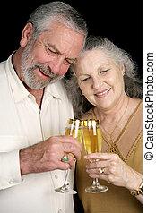 toast, couple, champagne, mûrir