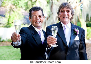 toast, couples gais, -, mariage, champagne