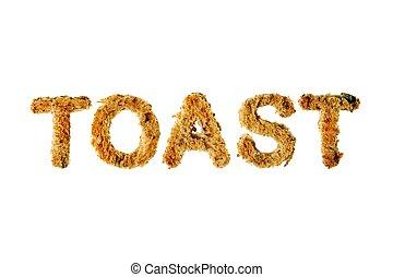 toast, coupure, mot, isolé, spelled, arrière-plan., contre, ...