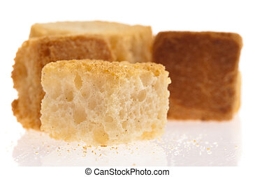 croutons - toast croutons isolated on a white background