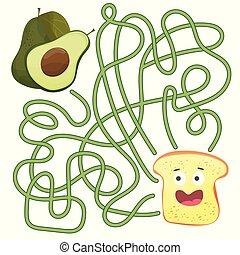 toast, droit, aide, labyrinthe, puzzle, -, ou, jeu, manière, children., labyrinthe, trouver