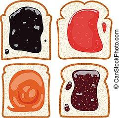 toast, ensemble, tranches, vecteur, pain blanc