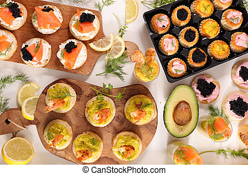 toast, finger food, verrine and canape