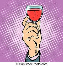 Toast glass red wine pop art retro vector. The triumph...