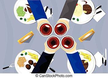 toast, groupe, restaurant, sommet, gens, manger, verre, vue, table, célébration, vin