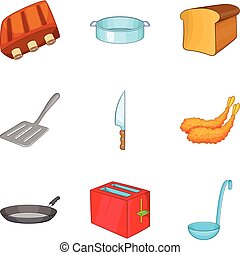 Toast icons set, cartoon style