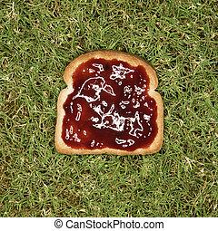 toast, jam., couper