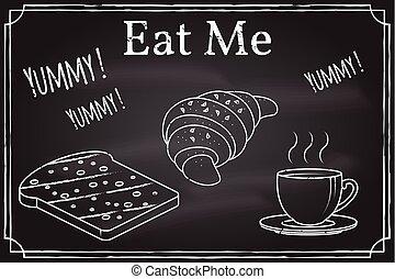 toast, kaffeetasse, croissant, me., icon., essen