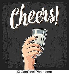 toast, main, bonne disposition, verre, tenue, mâle, lettering., vodka.