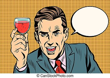 Toast man glass of wine pop art retro vector. Alcoholic...