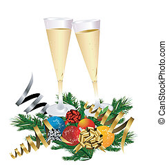 toast, neu , champagner, jahres
