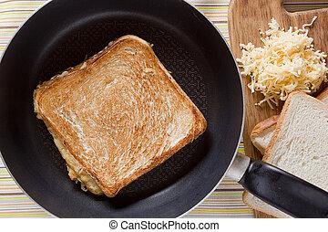 Toast on frying pan