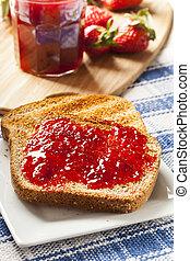 toast, organique, gelée, fraise, fait maison, rouges
