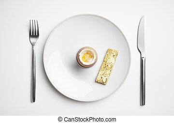 toast, płyta, urżnięty, widelec, wojsko, jajko, nóż