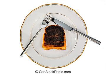 toast, pain, brûlé, tranches