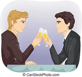 toast, para, wesoły