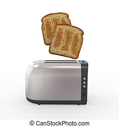 Toast Popping Out of a Toaster isolated on white background....