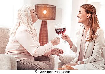 toast, proverbe, fille, elle, personnes agées, blonds, dame