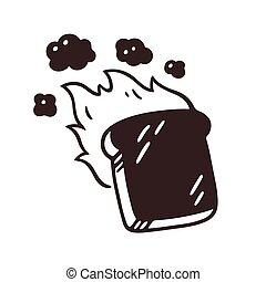 toast, rysunek, spalony