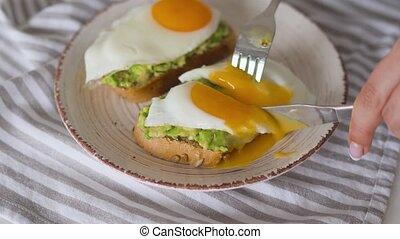 toast, sain, avocat, vegan, partage, egg., breakfast.