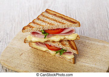 toast sandwich grilled ham with che