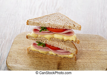 toast sandwich with ham cheese and