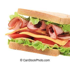 Toast sandwich with ham.