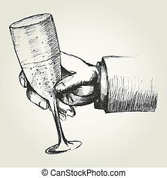 Toast - Sketch illustration of a hand holding a glass of...