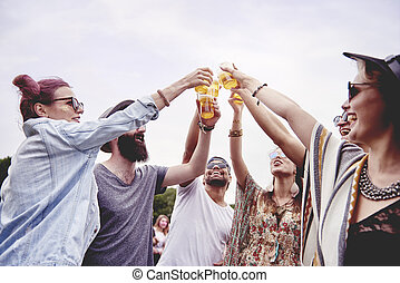 toast, sommer, machen, fest