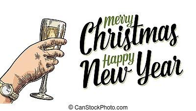 toast, tenant main, bonne disposition, verre, champagne., femme, lettering.