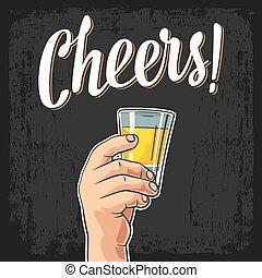toast, tequila., main, bonne disposition, verre, tenue, mâle, lettering.