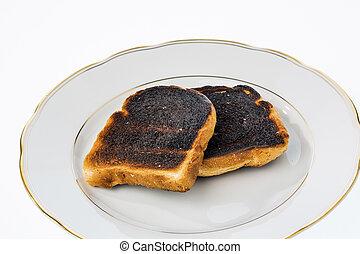 toast, tranches, brûlé, pain