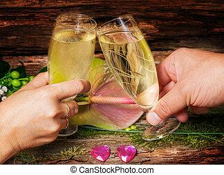 toast, valentines, vorabend, jahres, tag, neu , champagner