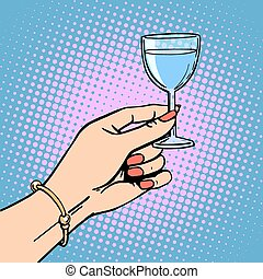 toast, verre, femme, vin