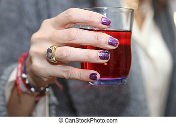 toast, verre, tient, main, femme