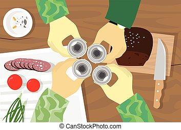 toast, vodka, groupe, sommet, verre, tenant mains, militaire, vue