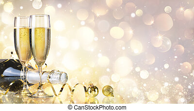 Toast With Bottle And Champagne