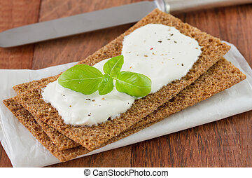 toast with cheese and basil