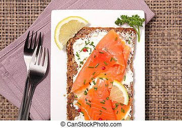 toast with cheese and salmon